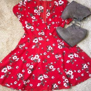 Dresses & Skirts - Red mini floral dress